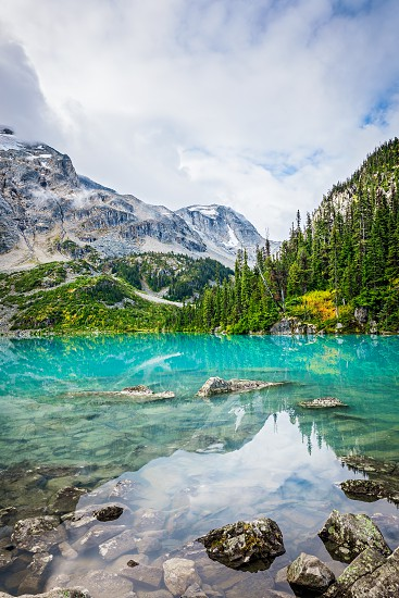 Daytime Mountain view with Beautiful Turquoise Glacier Fed lake. Joffre Lakes Provincial Park British Columbia Canada photo