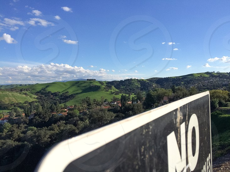 Landscape. Green. No. Signs. Nature. Vast. Life. Clouds. Peace. Quiet. Angles. Hills. California winter. photo