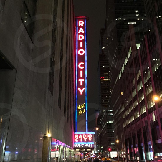 radio city music hall under night sky photo