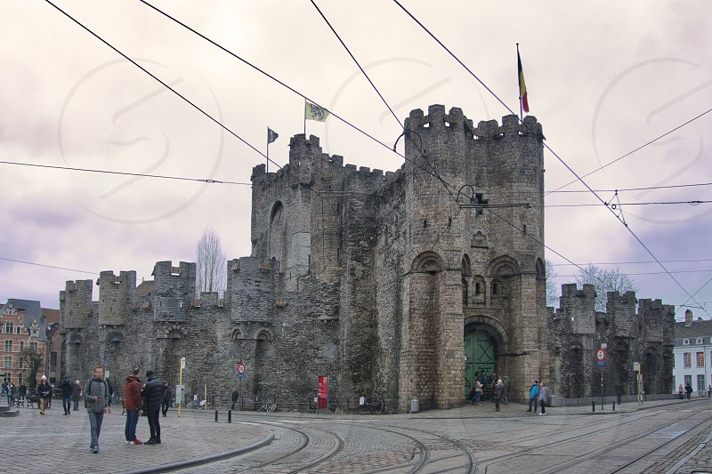 The castle of the Counts in the Belgian city of Ghent is the only surviving medieval fortress in Flanders with an almost intact defence system. It is an important tourist attraction for the city. photo