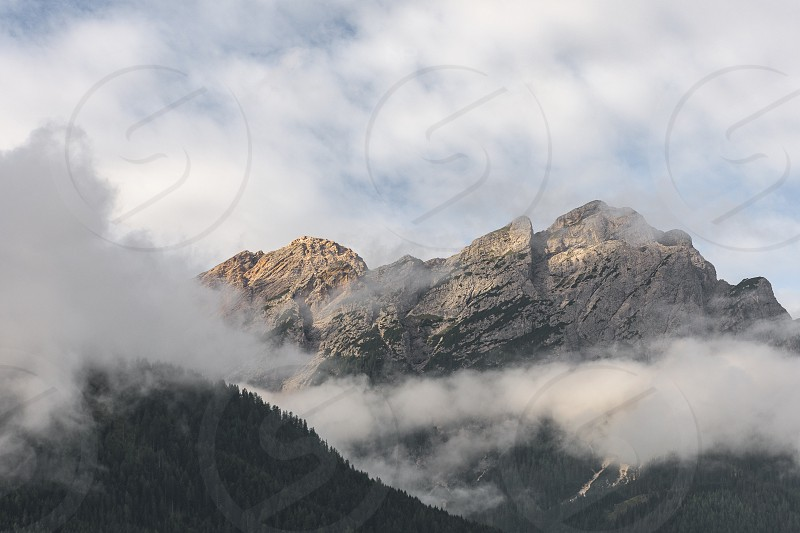 Mountains mist fog trees landscape Italy dolomites alps green sun kissed photo
