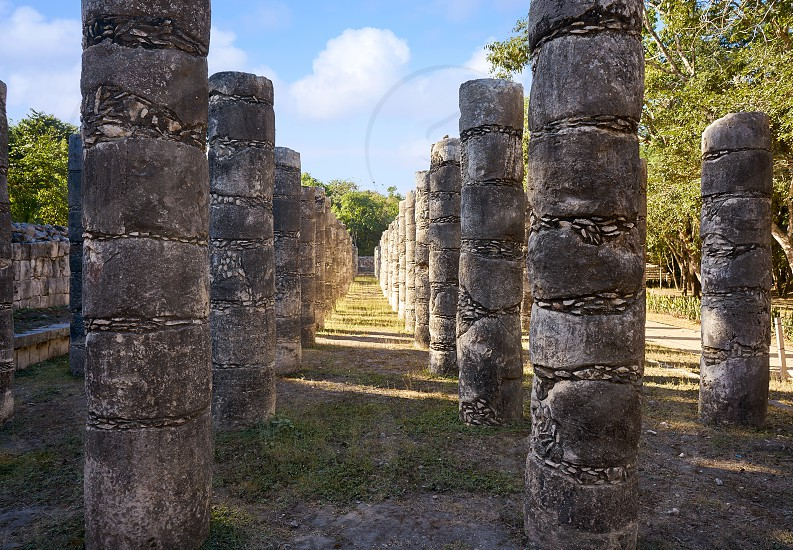 Chichen Itza one thousand columns temple at Yucatan Mexico photo