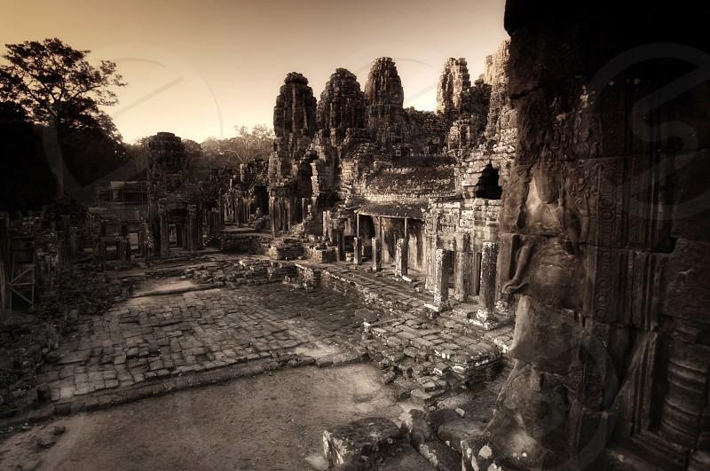 Sunrise at the Bayon Angkor Wat Cambodia  photo