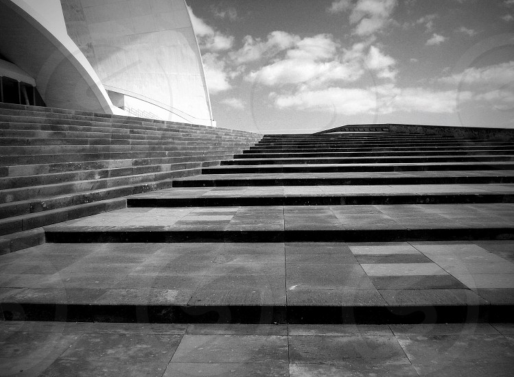 Auditoriumtenerifeislandarchitectureblackandwhitestairs photo
