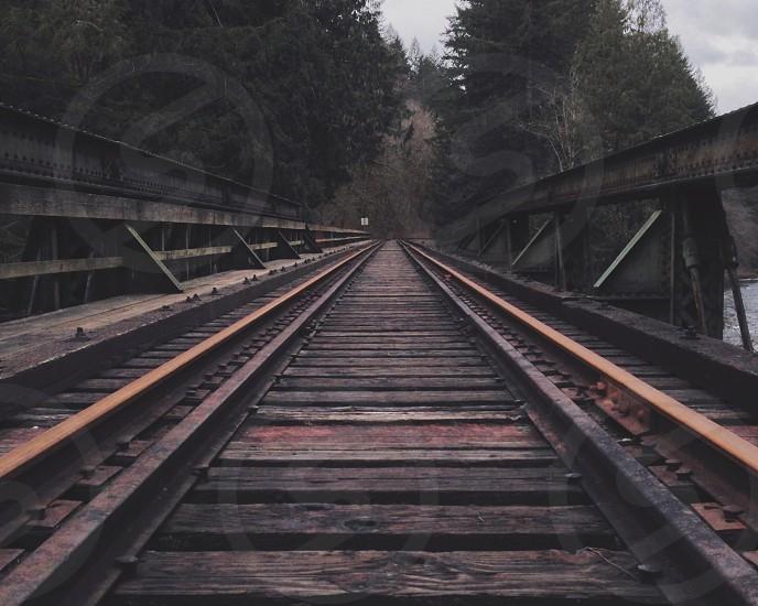 black wooden railway  photo