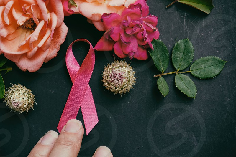 Feminine pink breast cancer awareness ribbon surrounded by floral arrangement photo
