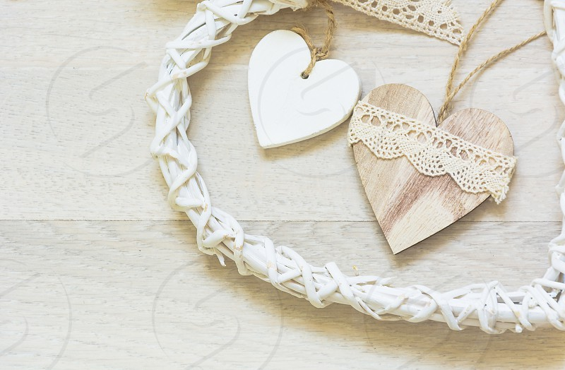 two wooden heart pl ... ] photo