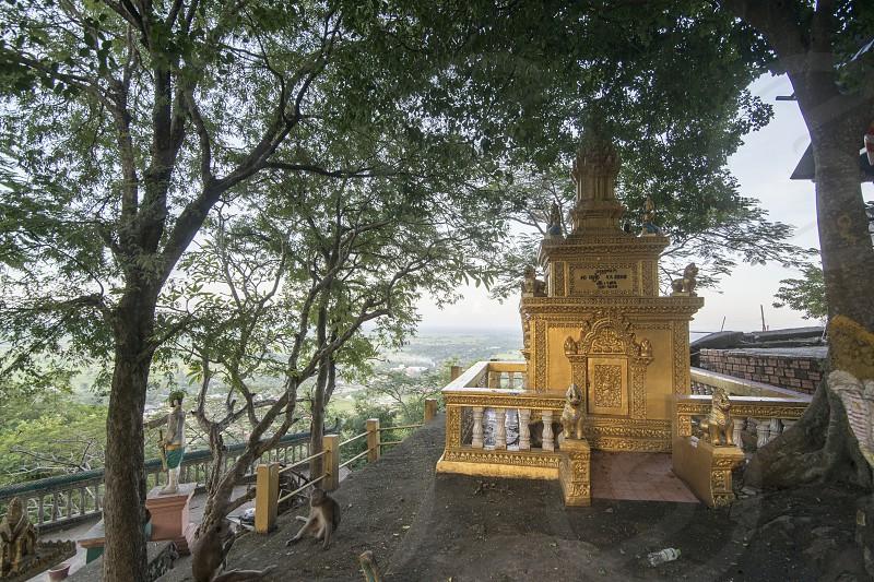 the stupas at the wat Phnom Sampeau on the Mount Phnom Sompov near the city of Battambang in Cambodia.  Cambodia Battambang November 2018 photo