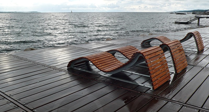 Chairs Seats Sea Helsingborg Sweden photo