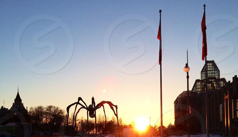 Ottawa Ontario Canada city skyline at sunset in the winter photo