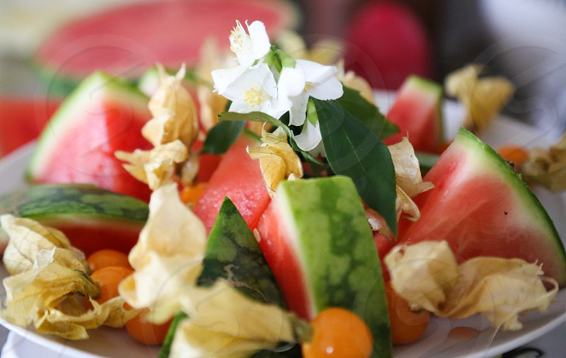 What's cooking salad watermelon melon physalis  photo