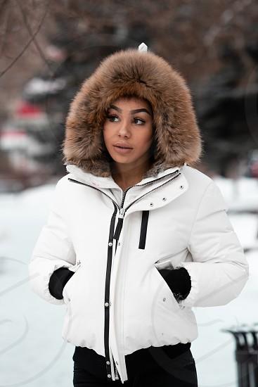 Woman enjoying winter. photo
