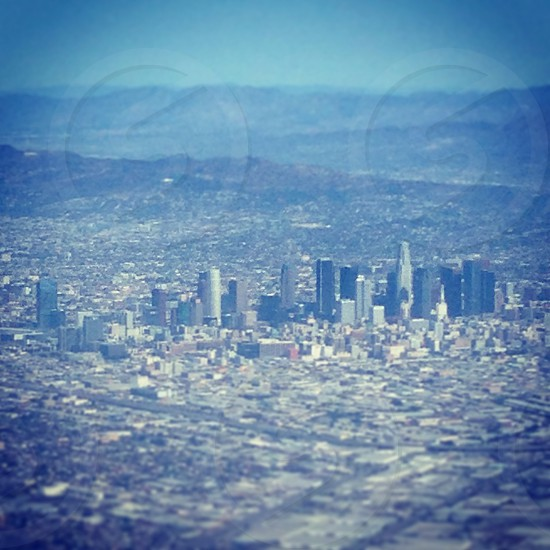 Downtown Los Angeles from a plane photo