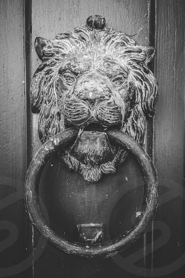 black steel round door knocker photo
