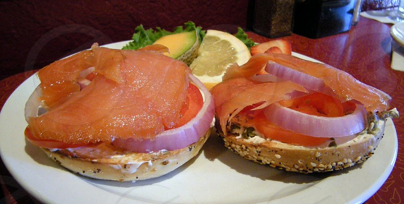 Lox and bagels (salmon cream cheese red onion and capers on bagels) photo