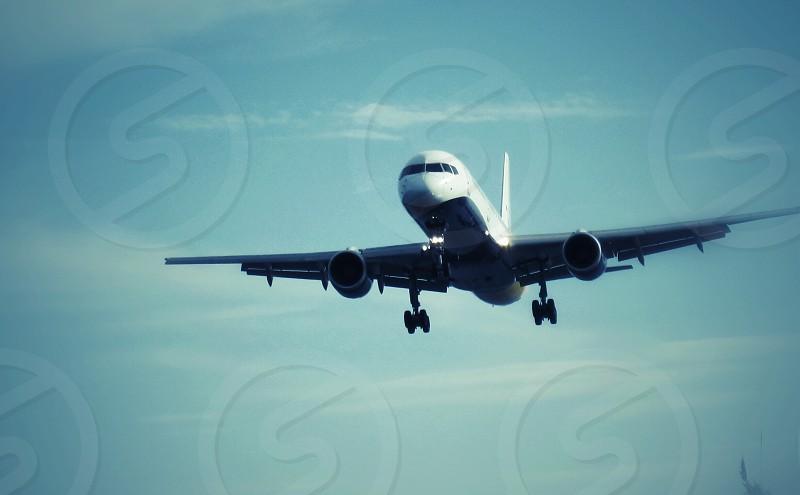Approach for landing aeroplane flight travel plane photo