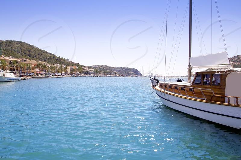 Andratx port marina in Mallorca balearic islands view from sailboat photo