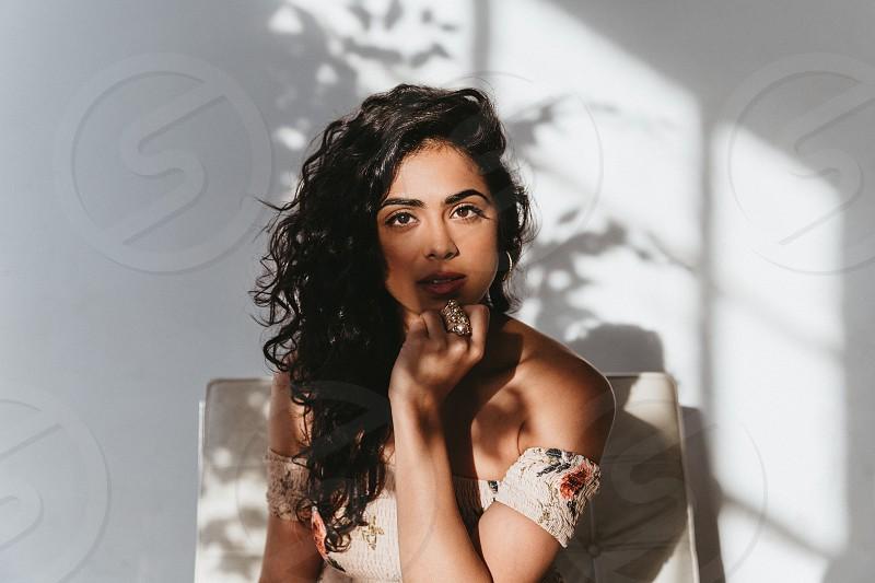 female portrait in studio setting photo