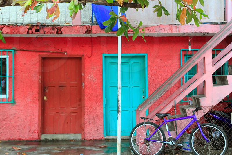 colorful Caribbean houses tropical vivid colors Isla Mujeres Mexico photo
