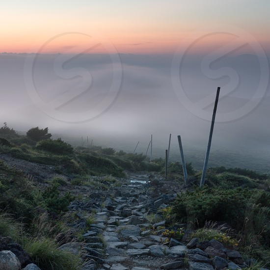 Trail in Zao mountains shrouded in mist - Japan photo
