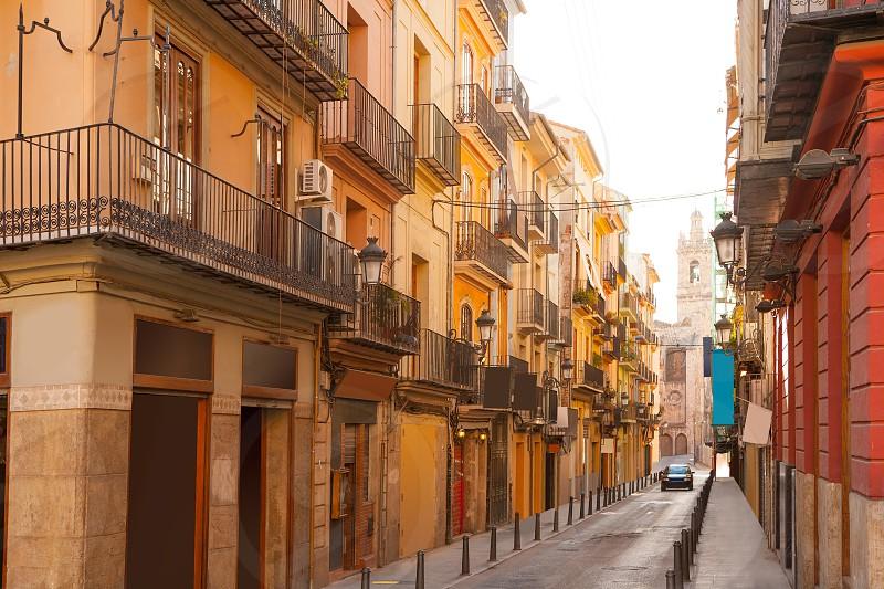 Valencia Bolseria Street in Barrio del Carmen downtown Spain photo