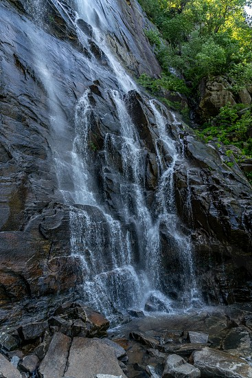 The 404 foot Hickory Nut Falls in Chimney Rock State Park in North Carolina. photo