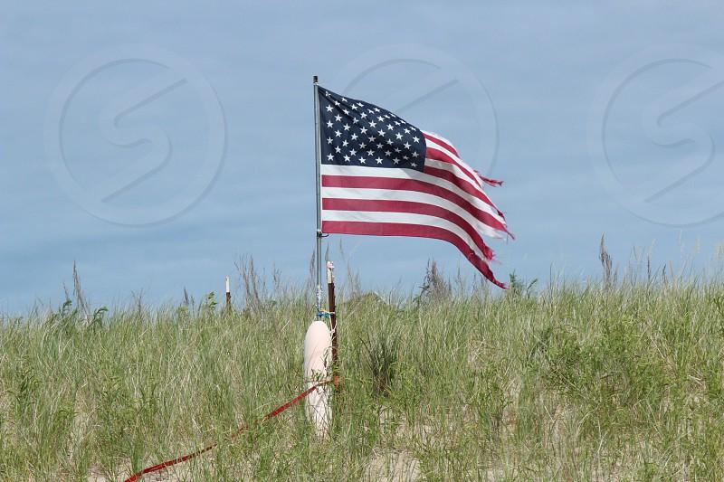 American flag beach sand Americana  photo