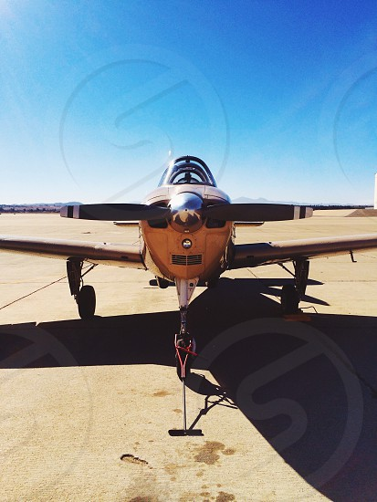brown metal aircraft propeller details photo