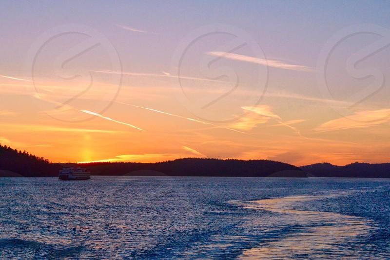 Sunset in the San Juan Islands Washington photo