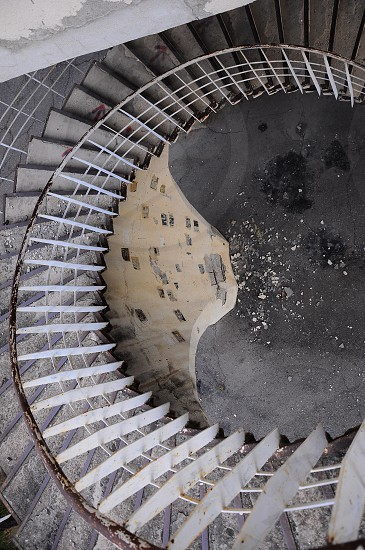 gray spiral stairs photo