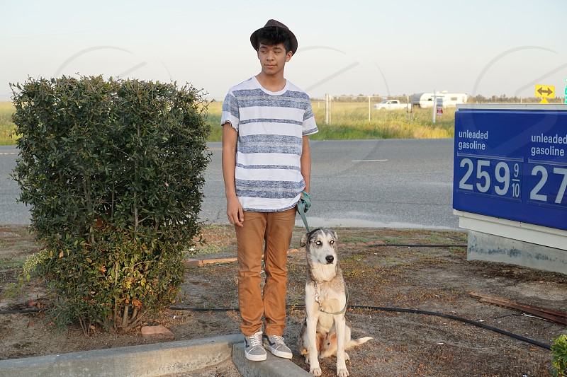Teens road trip bonding dog  photo