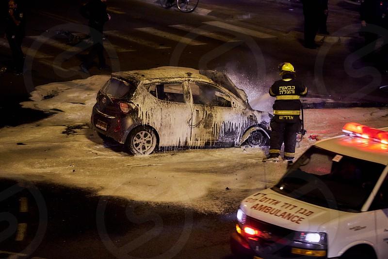 fire in Tel Aviv road ...  photo