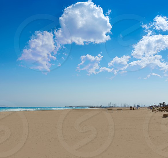 Canet de Berenguer beach sand in Valencia of spain photo