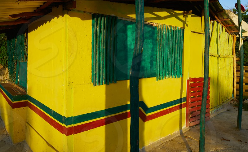 Caribbean yellow house cabin in Riviera Maya at Mexico photo