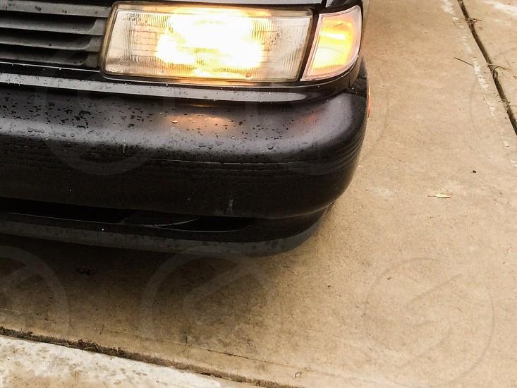 Car  headlight wet  rainy  photo