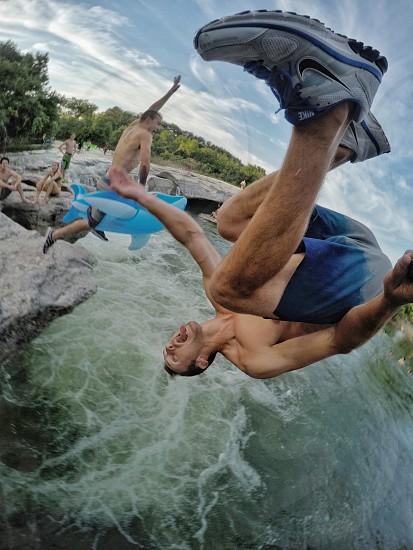 Flip summer dive waterfall cliffjump backflip gainer shark photo