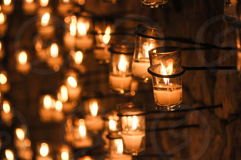 Candles at xcaret on the day of the deaths photo
