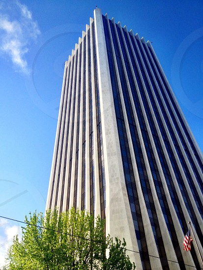 low angle view of high rise building photo