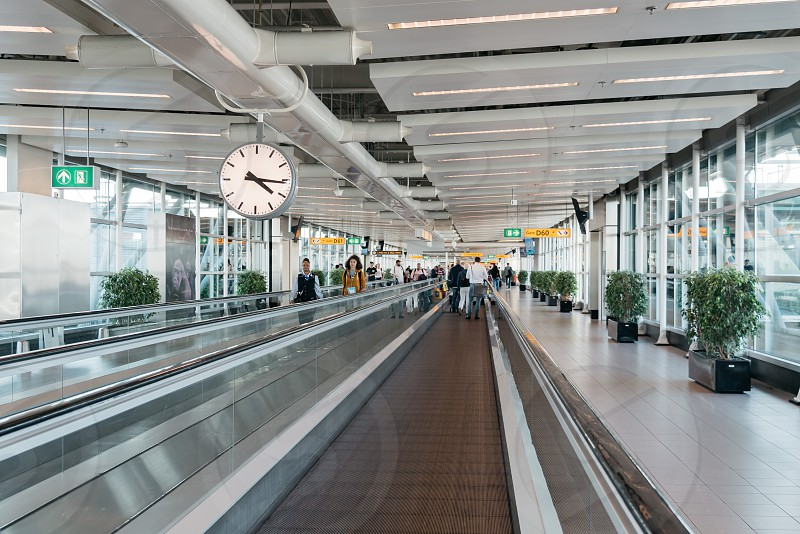 Schiphol Airport. Mechanical walkways. It is the main international airport of the Netherlands photo