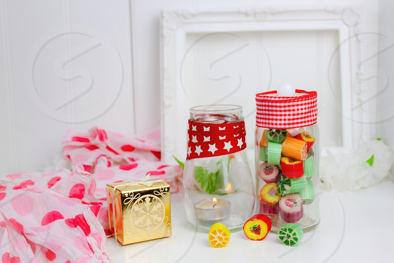 Traditional boiled fruity sweets candy mason jar homemade gift  photo