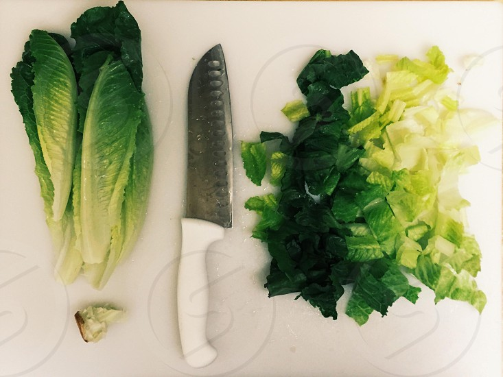 green chinese cabbage beside white handled stainless steel knife photo