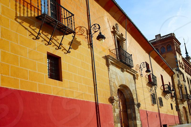 Leon Obispado facade in Plaza Regla square beside Cathedral at Castilla Spain photo