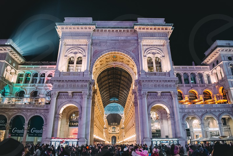 Gallery Architecute Night Lights Old Gothic Galleria Vittorio Emanuele Hall Walls Gate Modern Milan Milano Italy photo