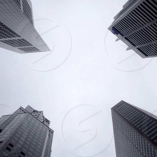 white sky above gray tall city buildings photo