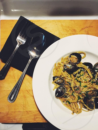 Linguine. Clams. photo