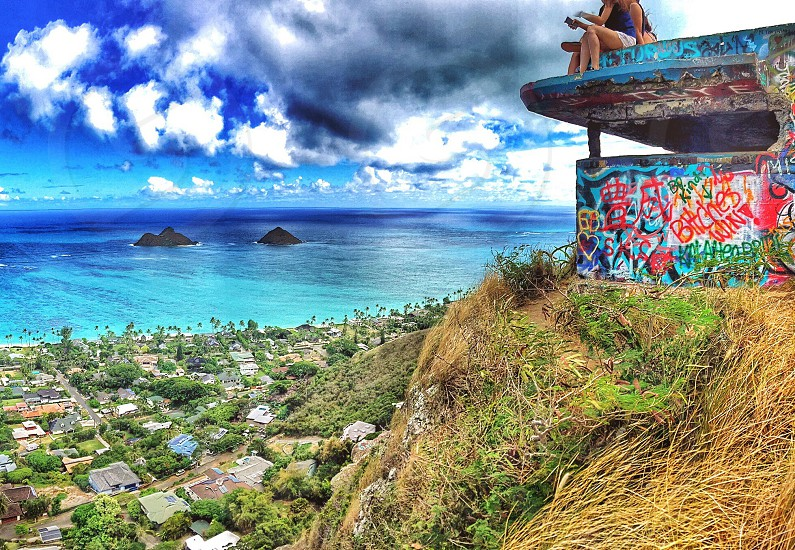 artwork print house on top of mountain in front of rural city and sea under blue sky photo