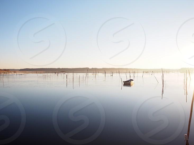 white rowboat on sea during daytime photo
