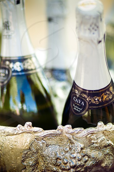 Three bottles of spanish cava sparkling wine sit in an ornate silver bowl. cava; wine; champagne; sparkling; sparkling wine; drink; beverage; alcohol; alcoholic; adult beverage; bottle; bottles; glass bottle; silver; bowl; photo