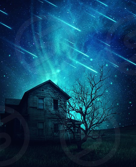 A ghost haunted house and a scary tree in the meadow below a cold dark blue sky. Spooky landscape with a starry night sky background and fallen comets. photo