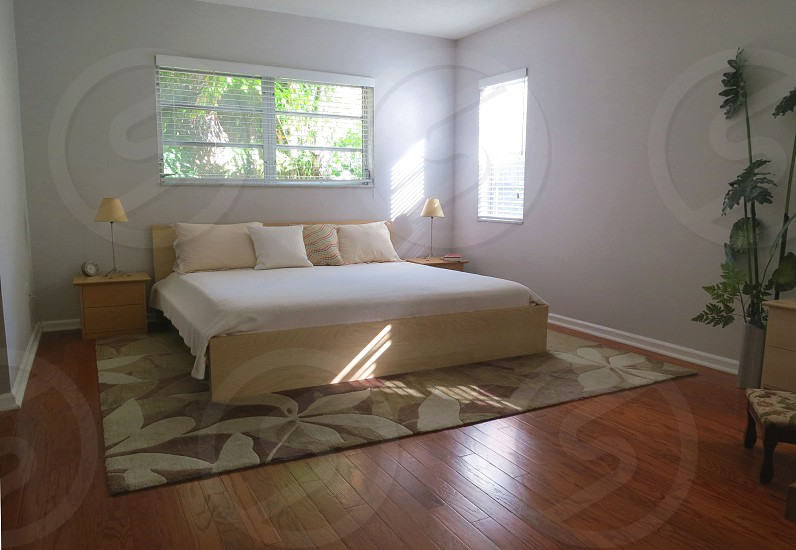 A peaceful clean-lined bedroom with neutral colors hardwood floor and good light photo